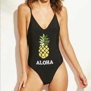 NWOT Xhilaration One Piece Pineapple Swimsuit